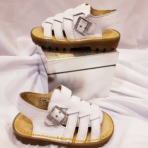 White Leather Dr Marten Baby Sandals